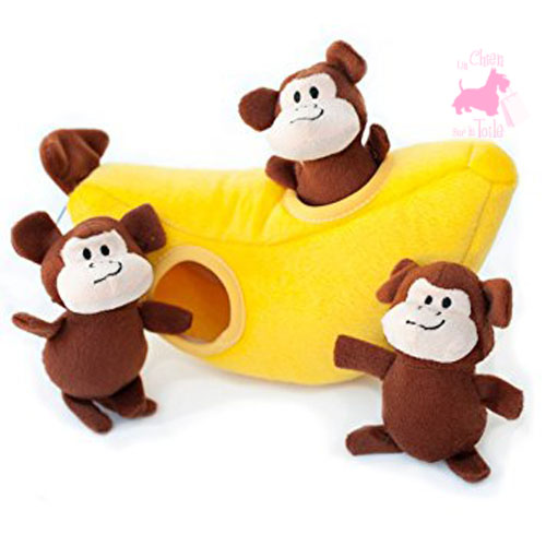 "Peluche Puzzle BURROW ""Monkey 'n Banana"" - ZIPPY PAWS"