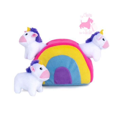 "Peluche Puzzle BURROW ""Unicorns in Rainbow"" - ZIPPY PAWS"