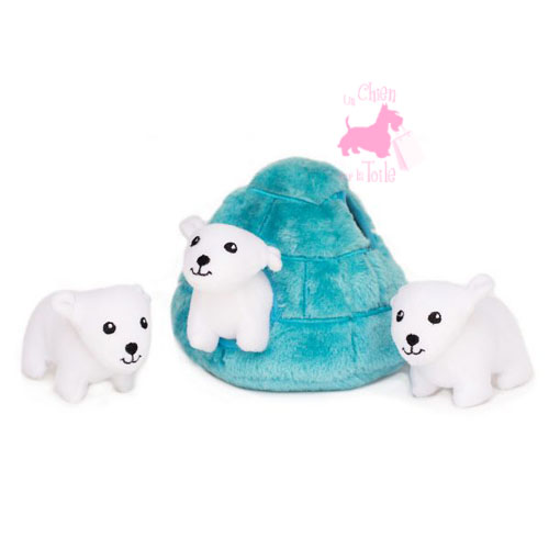 "Peluche Puzzle BURROW ""Polar Bear Igloo"" - ZIPPY PAWS"