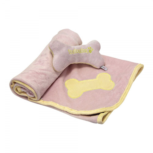 "Set Plaid/Jouet Os ""Puppy Blanket & Toy"" - FOUFOU DOG"