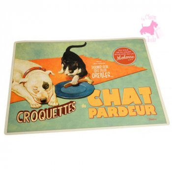 "Tapis de gamelle ""Chat Pardeur"""